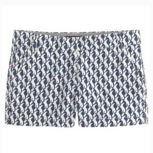J. Crew Shorts - J. Crew Chino White Navy Seahorse Shorts